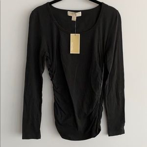 Michael Kors Black Zipper Long Sleeve Top